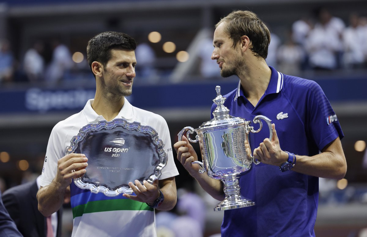 'First of all I want to say sorry for you fans and Novak. We all know what he was going for today. I've never said this anybody, but I will say it right now. For me [Novak], you are the greatest tennis player in history.' Daniil Medvedev