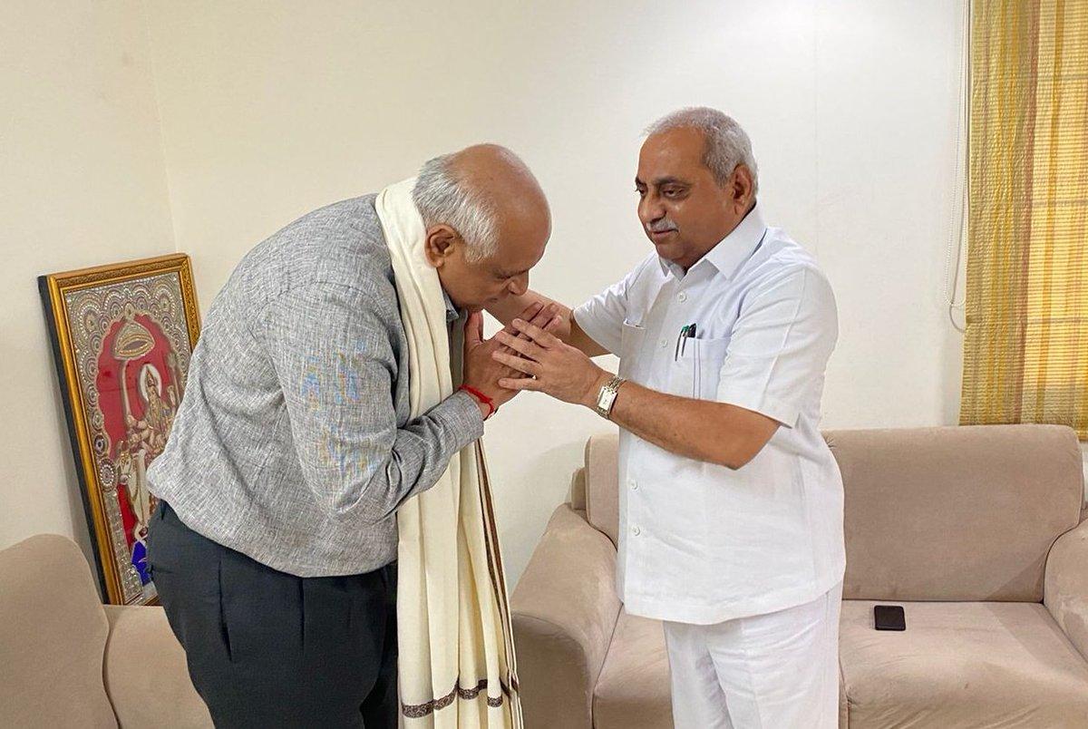 CM Designate Bhupendra Patel visits Nitin Patel, Vijay Rupani