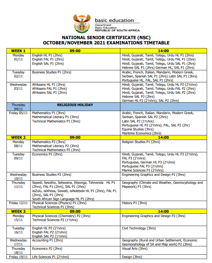 Pictures: Matric 2021 final exams timetable