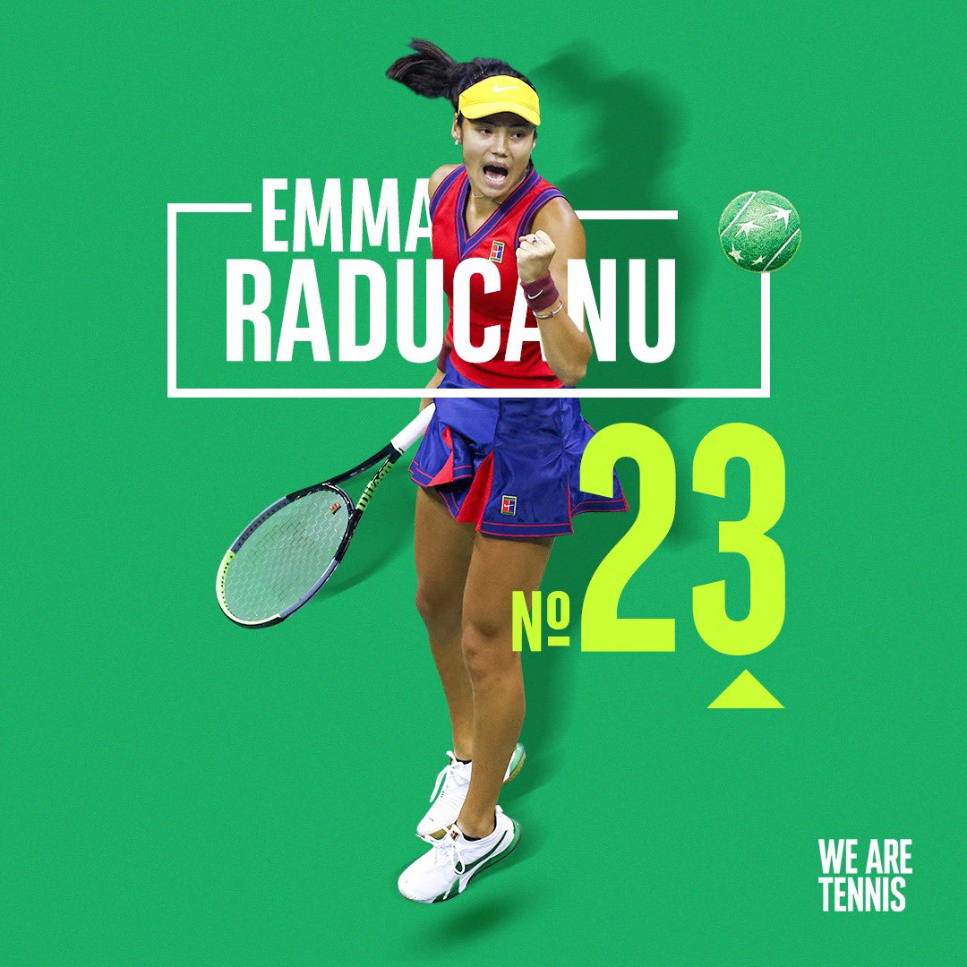#USOpen Şampiyonu 127 sıra birden atladı! 18 yaşındaki Emma #Raducanu, #WTA sıralamasında kariyerinin en yüksek sıralaması olan 23'e yükseldi. ✨📈