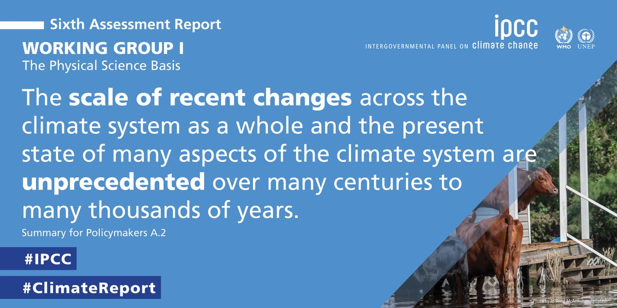 Findings from the latest #IPCC #ClimateReport show: The scale of recent changes across the climate system as a whole and the present state of many aspects of the climate system are unprecedented over many centuries to many thousands of years. ➡️ bit.ly/WGICC2021