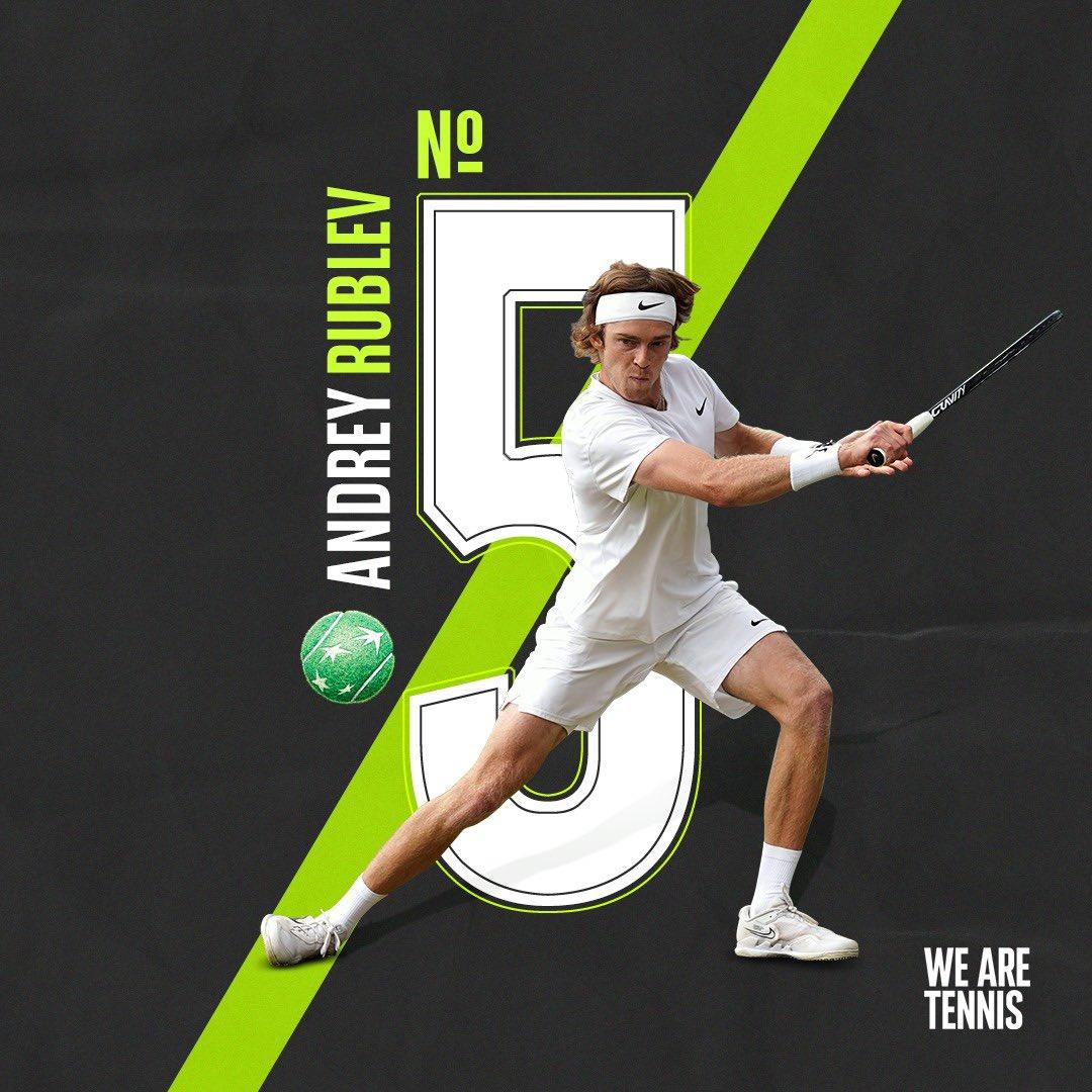 Andrey #Rublev yükselişte! Rus raket #ATP sıralamasında 5.sıraya yükseldi. ✨📈