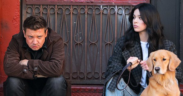 """Jeremy Renner as Clint Barton/Hawkeye (left) and Hailee Steinfeld as Kate Bishop (right) in """"Hawkeye"""" on Disney+"""