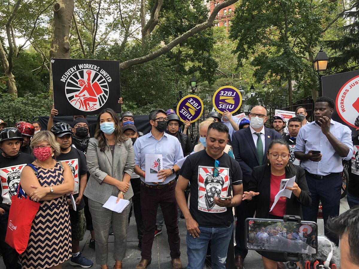 HAPPENING NOW. I'm joined by my colleagues @CMCarlinaRivera @JustinBrannan & @galeabrewer @ShahanaFromBK @voteshekar to stand with #deliveristas. A new Cornell report finds app delivery workers experience harsh consequences of an unregulated industry all while apps profit. BASTA!