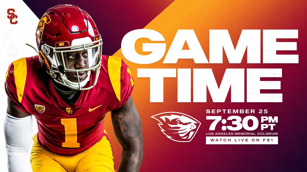 Game time is set for our matchup against Oregon State. #FightOn✌️