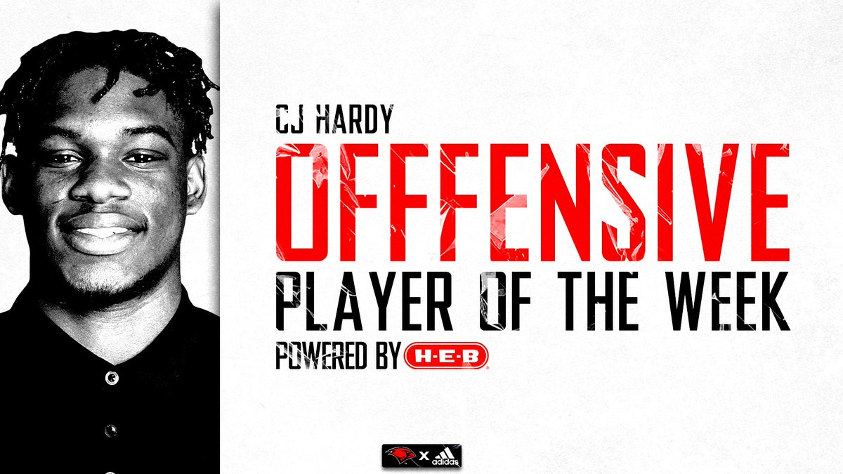 Congrats to @cjhardy3 for earning Offensive Player of the Week Powered by @HEB #TheWord