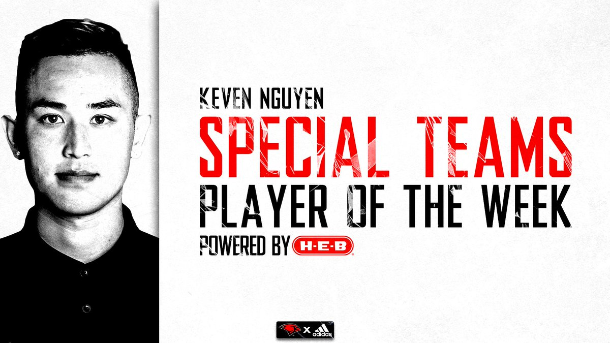 Congrats to @kevennguyen97 for earning Special Teams Player of the Week Powered by @HEB #TheWord
