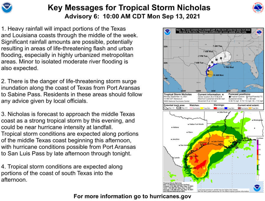Here are the 10 AM CDT Monday Key Messages for Tropical Storm #Nicholas. Latest information at hurricanes.gov