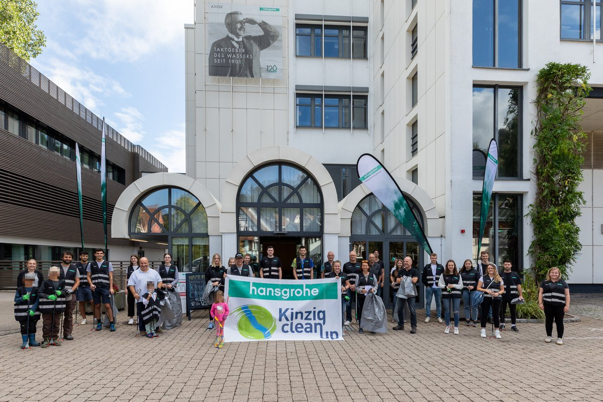 """A look at our annual """"Kinzig Clean-Up"""" last Saturday. To support the #RhineCleanUp mission, our #Hansgrohe apprentices and interns collaborated with our Green Company team to free the Kinzig river from waste and plastic. https://t.co/dAk81rE4eu"""