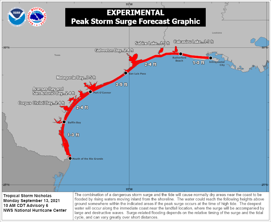 There is a danger of life-threatening storm surge from Tropical Storm #Nicholas along the Texas coast from Port Aransas to Sabine Pass where a Storm Surge Warning is in effect. Latest information is available at hurricanes.gov