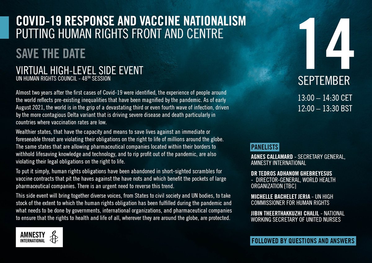 On tomorrow, a great panel of experts bringing together reflections on the health and human rights arguments for #VaccineJustice  👇