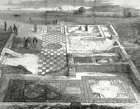 A wonderful lesser-seen 1884 illustration of the Medusa #mosaic at Brading #Roman villa on the #IsleOfWight, and a sketch of the excavations around the same time. #RomanBritain #Archaeology #RomanArchaeology #MosaicMonday