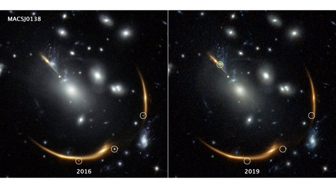 Two deep space images from Hubble Space Telescope of galaxy cluster bending light from supernova blast