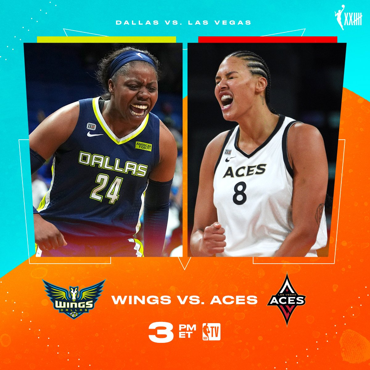 The @LVAces look to clinch a double-bye 🏀🔥 📺 Wings vs. Aces // 3pm ET on NBA TV!