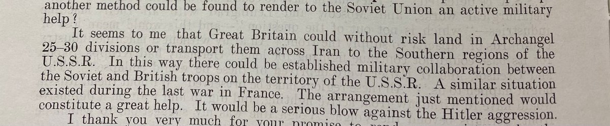 80 years ago today Stalin suggested the Brits send '25-30 divisions' to the USSR to join the fight against Hitler in a 'similar situation... To the last war in Feance.' Churchill said well, huh, we, I, um, let's...... NO. (Document from my recent trip to the @UkNatArchives)