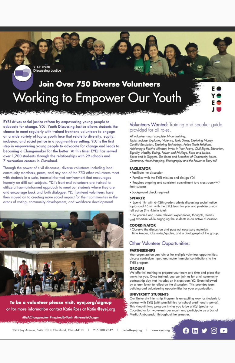 Do you want to make an impact in your community? Consider becoming a volunteer for @eyejcleveland's Youth Discussing Justice program! Sign up here: https://t.co/0KOBmshwTA https://t.co/hUlnladUlK