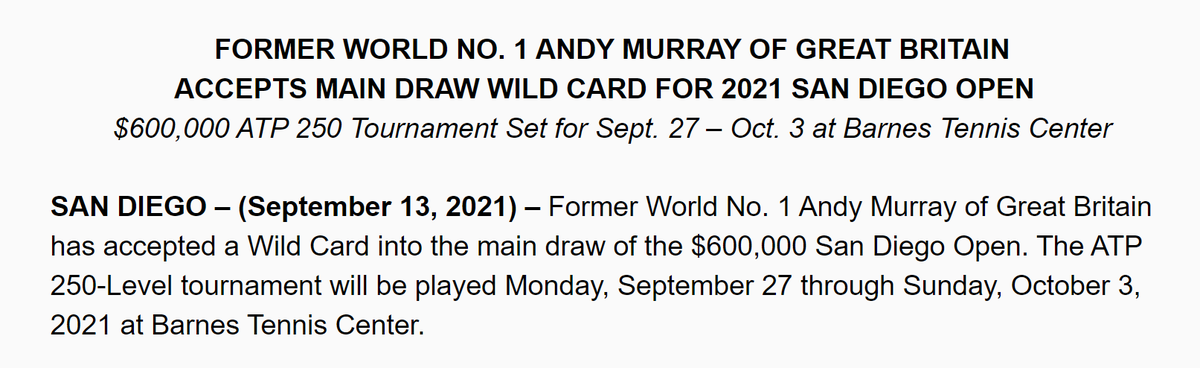 Andy Murray is coming to San Diego.