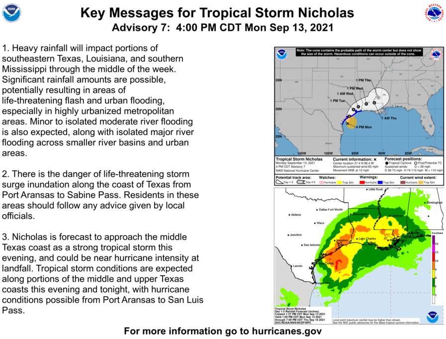 Here are the 4 PM CDT Monday Key Messages for Tropical Storm #Nicholas. Latest information at hurricanes.gov