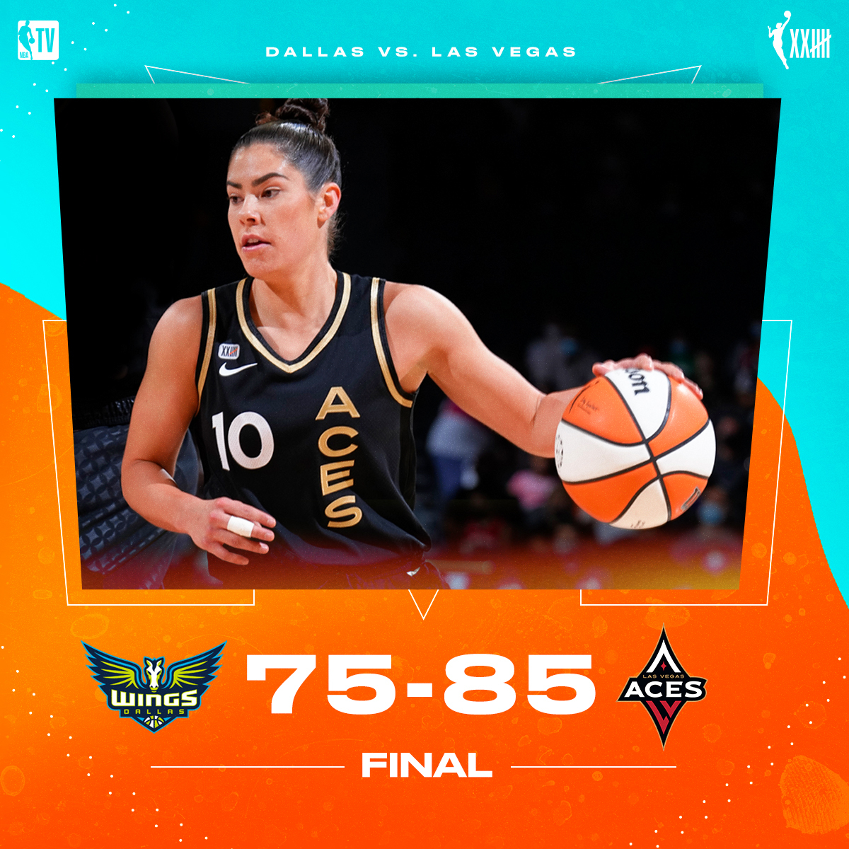 Kelsey Plum (30 PTS & 5 AST) leads the @LVAces to a W to clinch a double-bye ✅