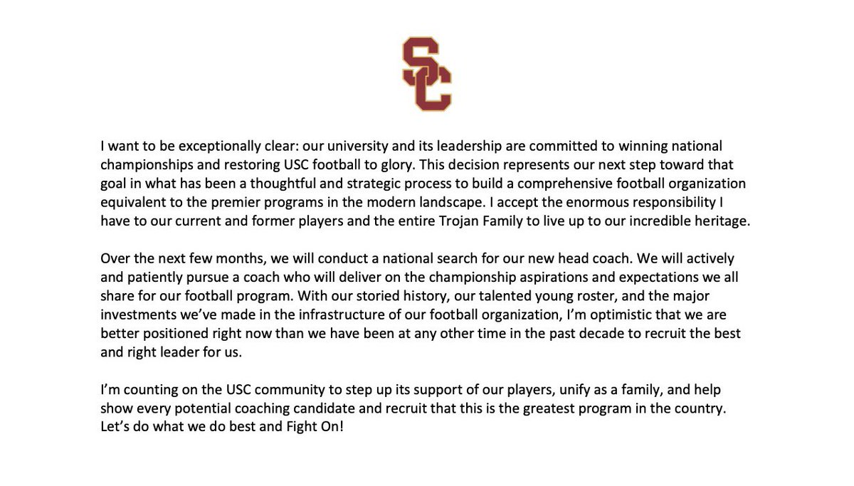 We are making a change in the leadership of our football program. #FightOn