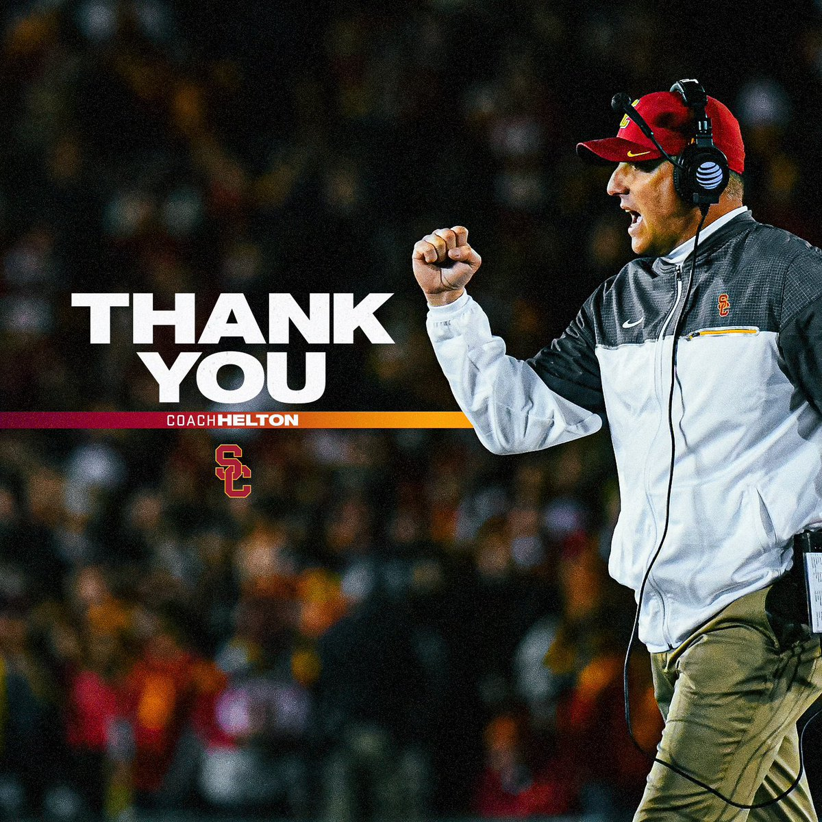 Thank you Coach Helton for all you have given to USC Football and the entire USC community. Your integrity, compassion, and leadership made an immeasurable impact on every player and staff member over the last 12 years. We wish you nothing but the best moving forward. Fight On!