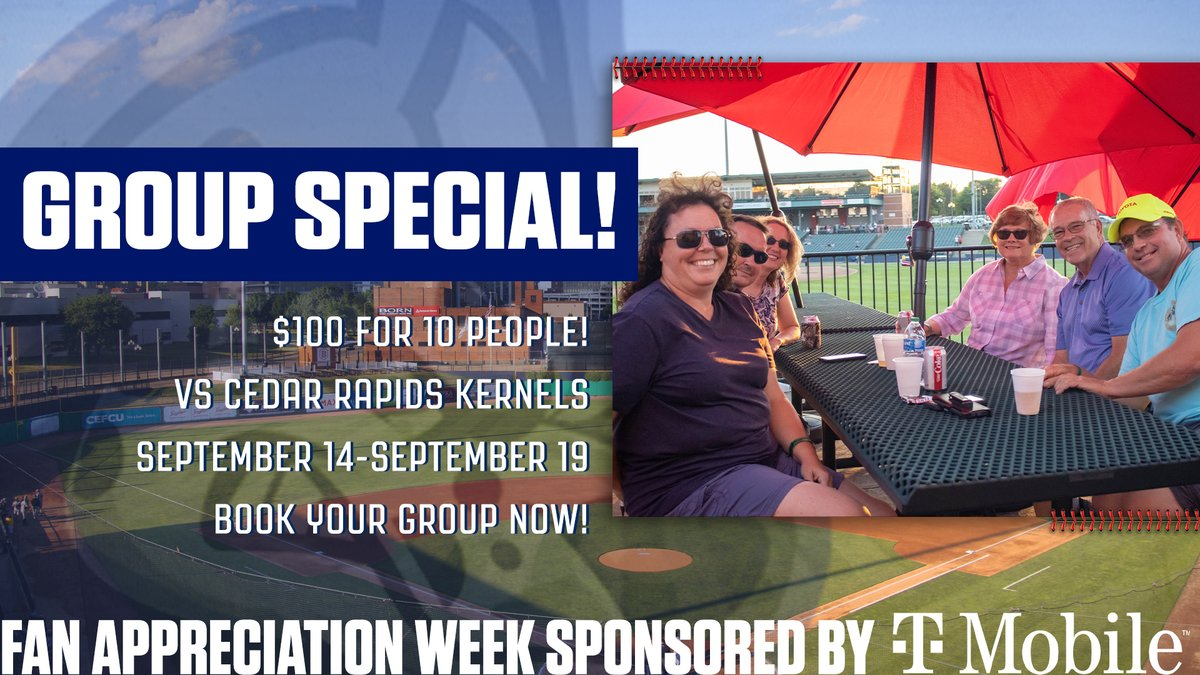 As part of our Fan Appreciation Week, enjoy the final homestand at Dozer Park this week with our special group offer! Book your group starting at only $100 for 10 people!  #SoundTheAlarm x @TMobile