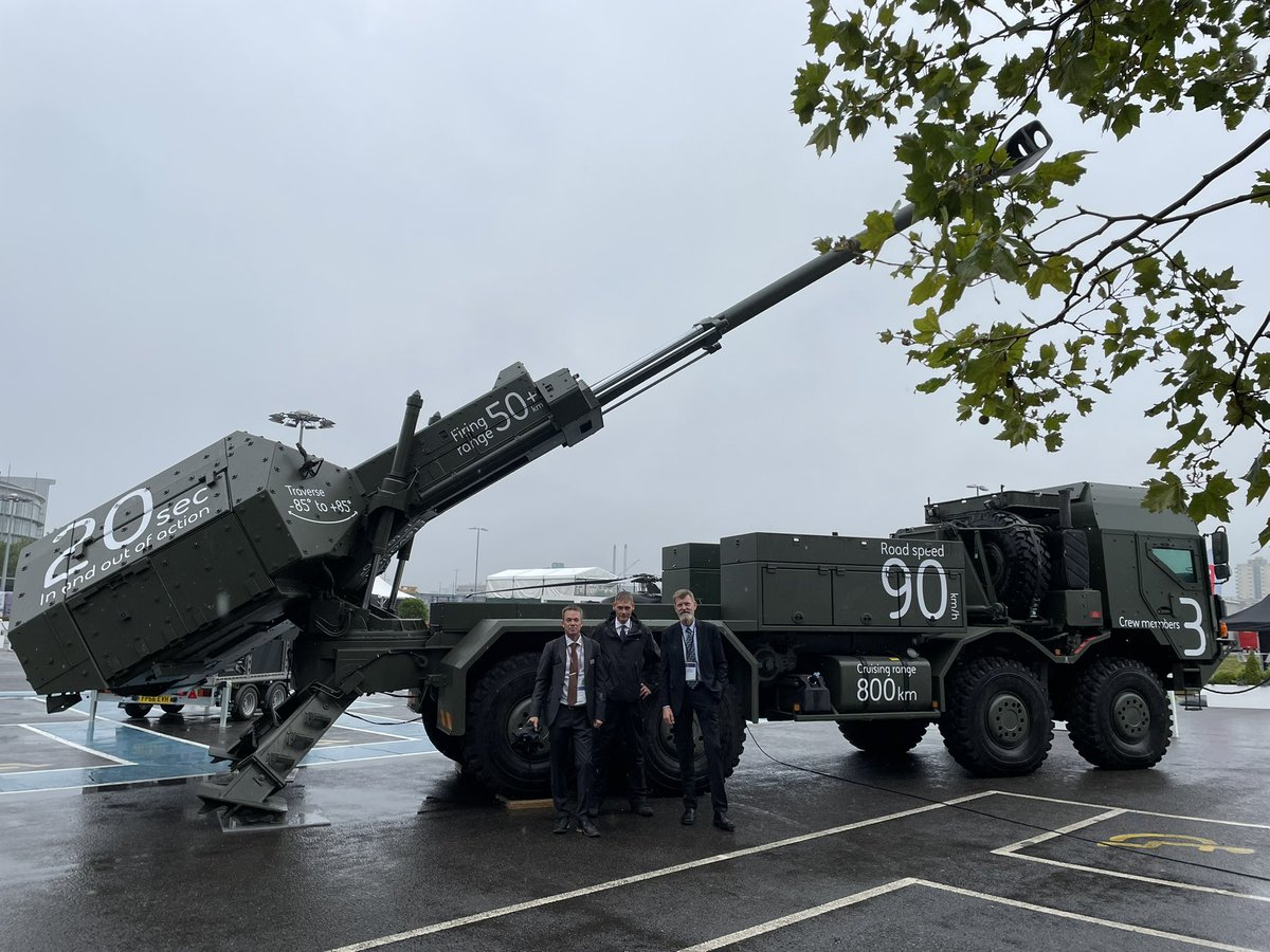 BAE Systems Bofors display the ARCHER Artillery system at DSEI outdoor stand (East enterance) at ExCEL center in London. Welcome! #baesystems #artillery #DSEI2021