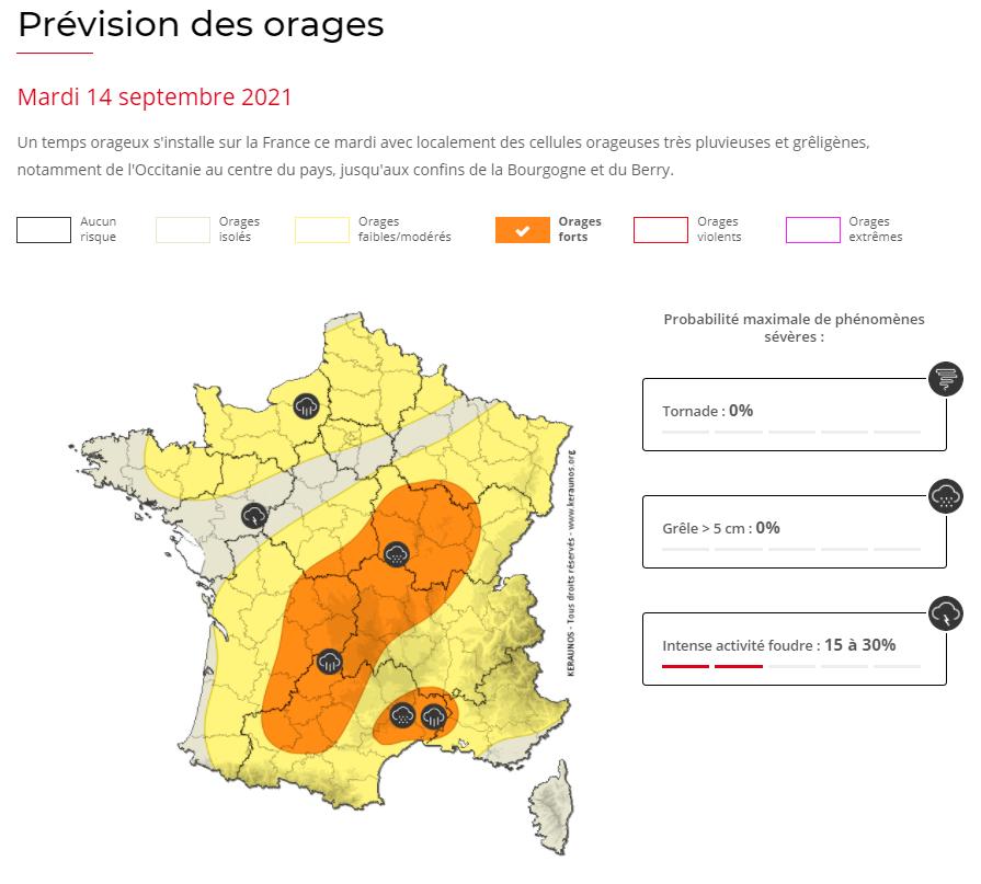 Un risque d'#orages forts concernera l'Occitanie, jusqu'au centre du pays ce mardi avec un risque de lames d'eau importantes (80/100 mm) notamment identifié sur le #Limousin en soirée :