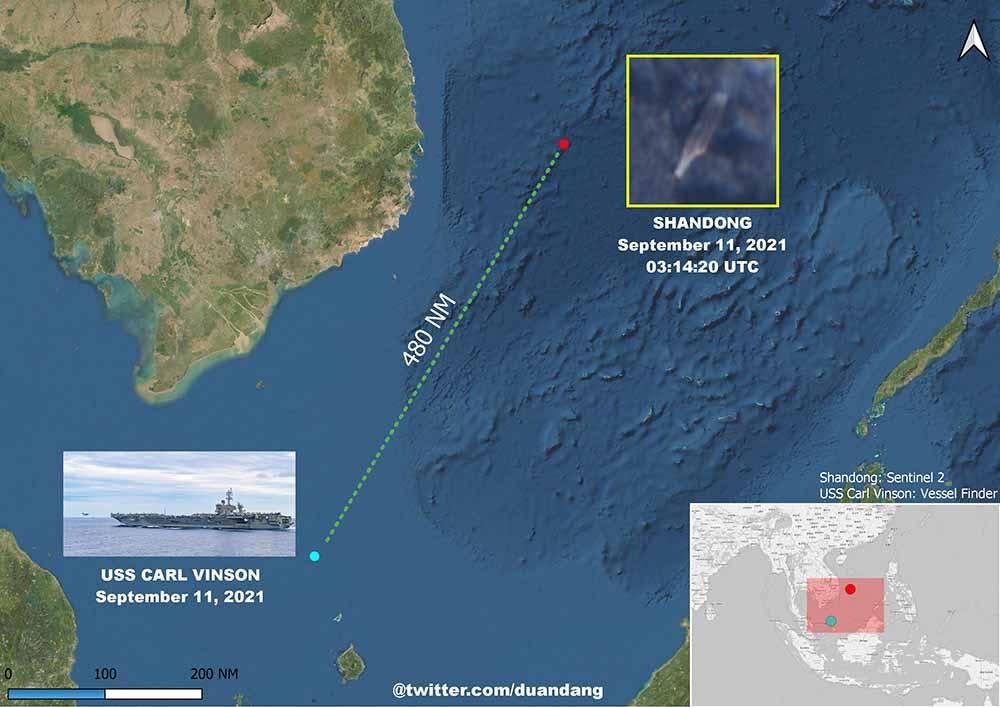 Китайский авианосец `Шаньдун` с кораблями эскорта 11 сентября находился в менее чем 500 милях от `Карла Винсона`.