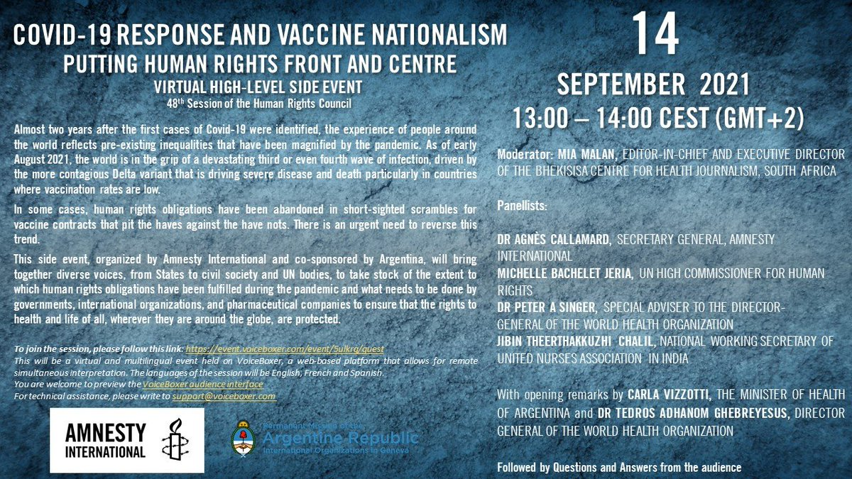 Want to talk about #VaccineJustice?   Join me at 1pm today for @amnesty's high-level side event at the 48th session of the Human Rights Council and the launch of a 100-day challenge to uphold human rights obligations to reverse global vaccine inequality:  event.voiceboxer.com/event/5ulkrq/g…