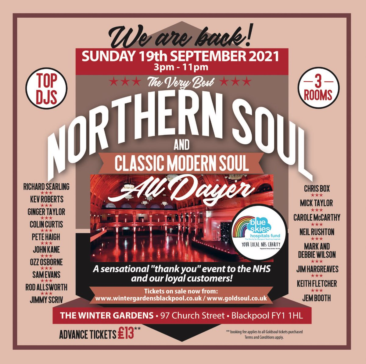 This Sunday @WGBpl it's the return of Northern Soul, Motown & Modern Soul in 3 fantastic rooms all under one amazing roof! Advance tickets on sale now for this massive reunion event. £13 (no booking fee) wintergardensblackpool.co.uk/whats-on/the-v…