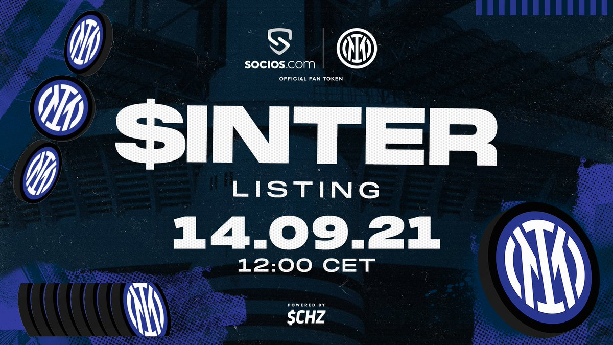 ⚫️🔵 $INTER is back  The Official @Inter Fan Token is now available on the Socios App at market price.  👉Get Yours: https://t.co/TILyiQ236v  ⚡️ $CHZ https://t.co/ie6GLKbeFa