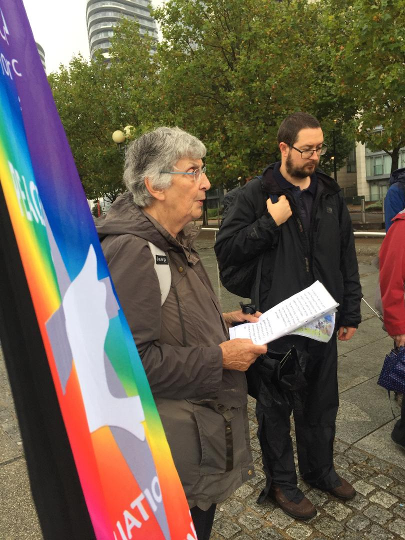 Pics of Christian peace protestors outside the Docklands Arms Fair today. Well done James Trewby and the Columban team, Pax Christi, Christian CND, FoR and Fr Joe Ryan of Westminster J&P