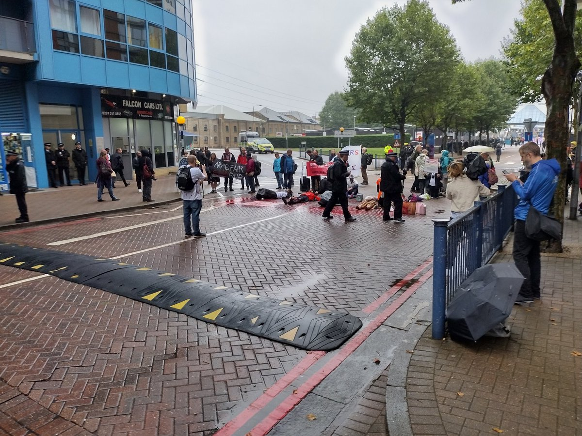 Protests have blocked the DSEI West gate #StopDSEI