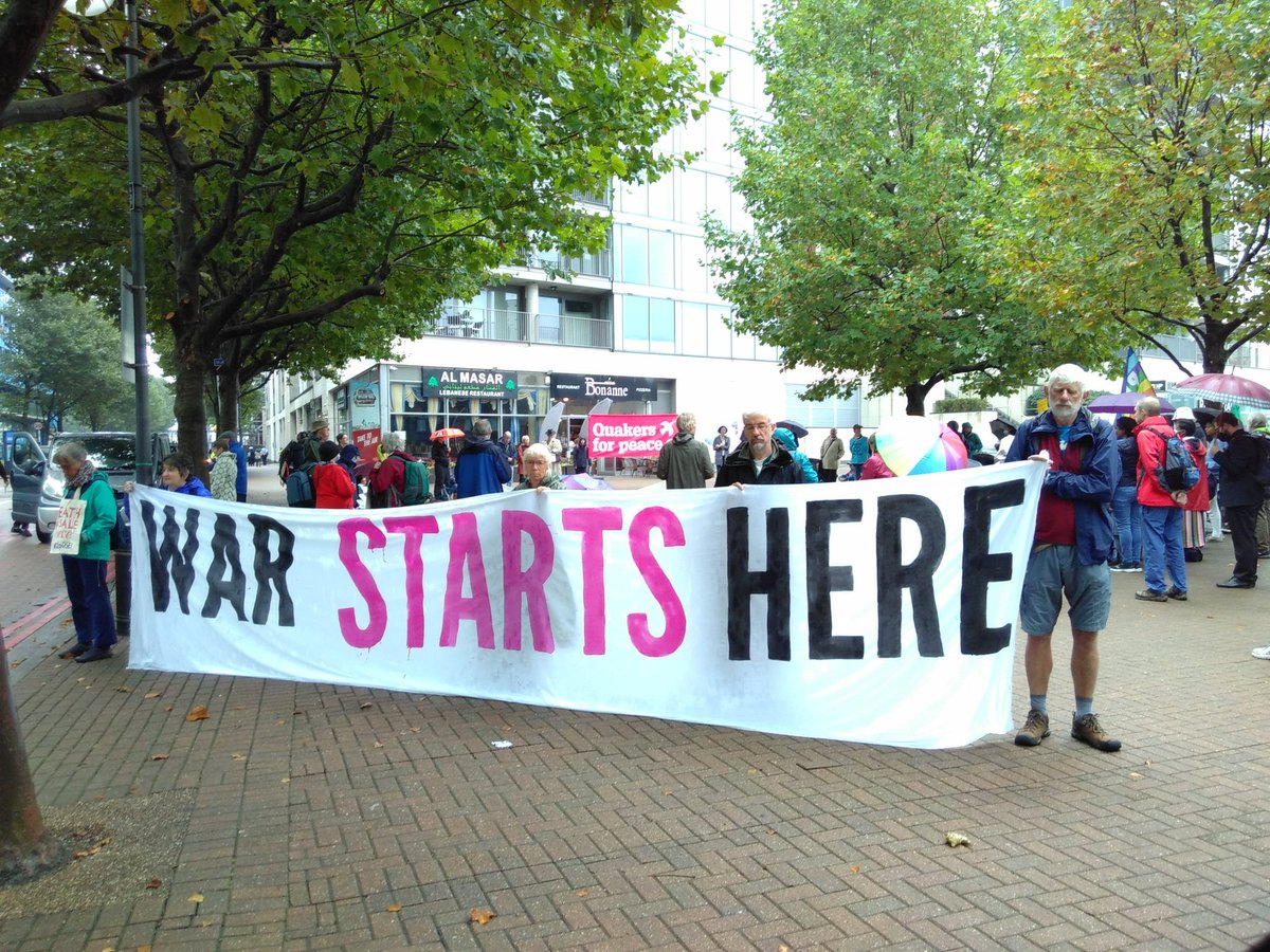 We're joining @StopTheArmsFair  today, resisting the DSEI arms fair. The fair brings together members of military, police and security forces from around the world, with thousands of arms companies, to make deals and exhibit the latest weapons and military technology.