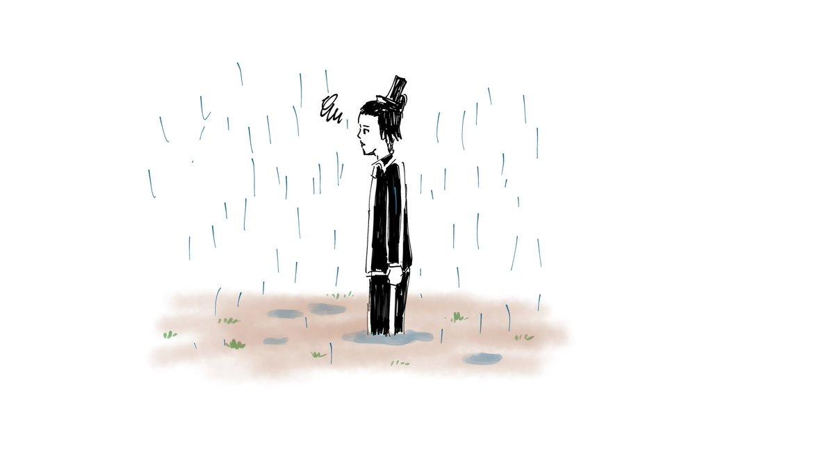 今日は雨なので雨の落描き。 聖徳太子が水たまりにはまったところ。