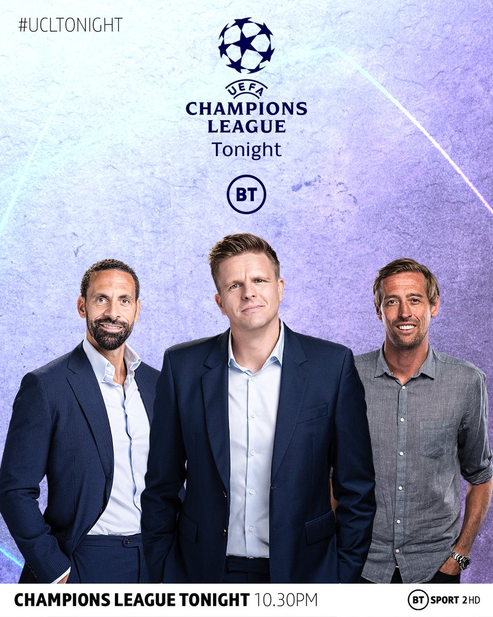 Introducing, Champions League Tonight!  A brand new show on BT Sport featuring the very best Champions League debate and analysis on the world's top stars.  Join @mrjakehumphrey, @rioferdy5 and @petercrouch for tonight's entertainment 🍿  📺 BT Sport 2 HD, 10.30pm  #UCLTONIGHT https://t.co/CZAeP2ONFJ