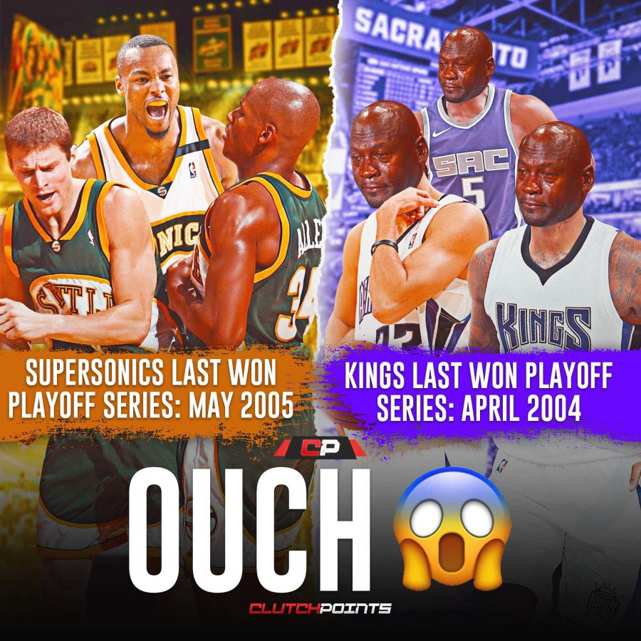 The Seattle SuperSonics' last playoff series win came in May 2005.  The Sacramento Kings' last playoff series win came in April 2004.  The Sonics haven't existed for 13 years.