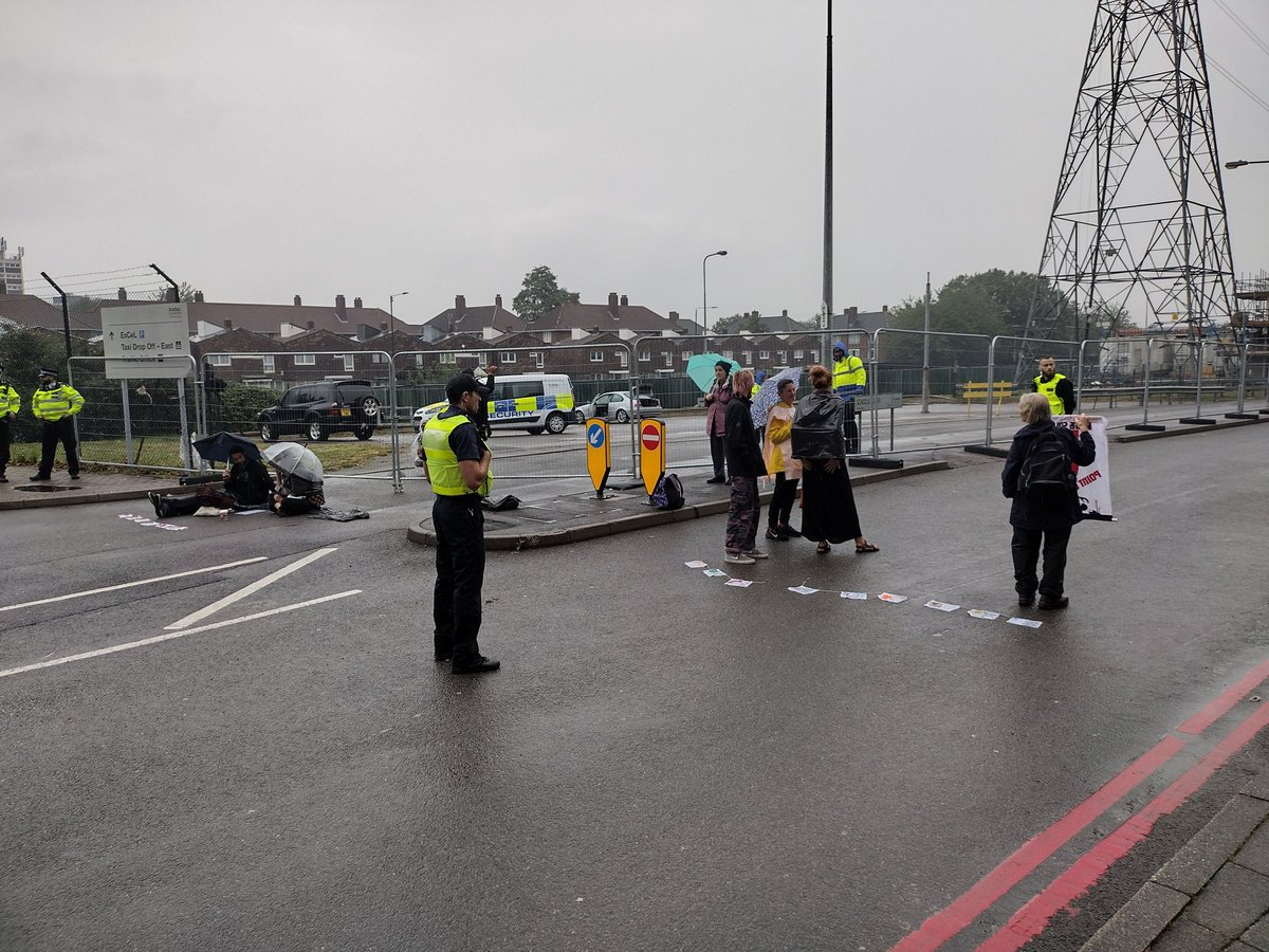 Well done to these lovely #StopDSEI activists who have blocked anothe gate at DSEI