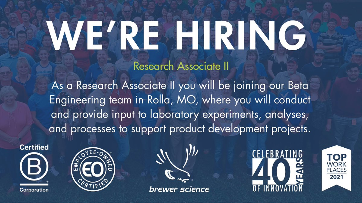 test Twitter Media - Brewer Science is looking for a Research Associate II to join our Beta Engineering Team in Rolla, MO. Learn more about the position and other current job openings by visiting : https://t.co/8oG6lty6u5 . . . #JobOpportunity #WorkHere #RollaMO #WeAreBCorp #BCorps #EmployeeOwned https://t.co/shPfWYMN5W