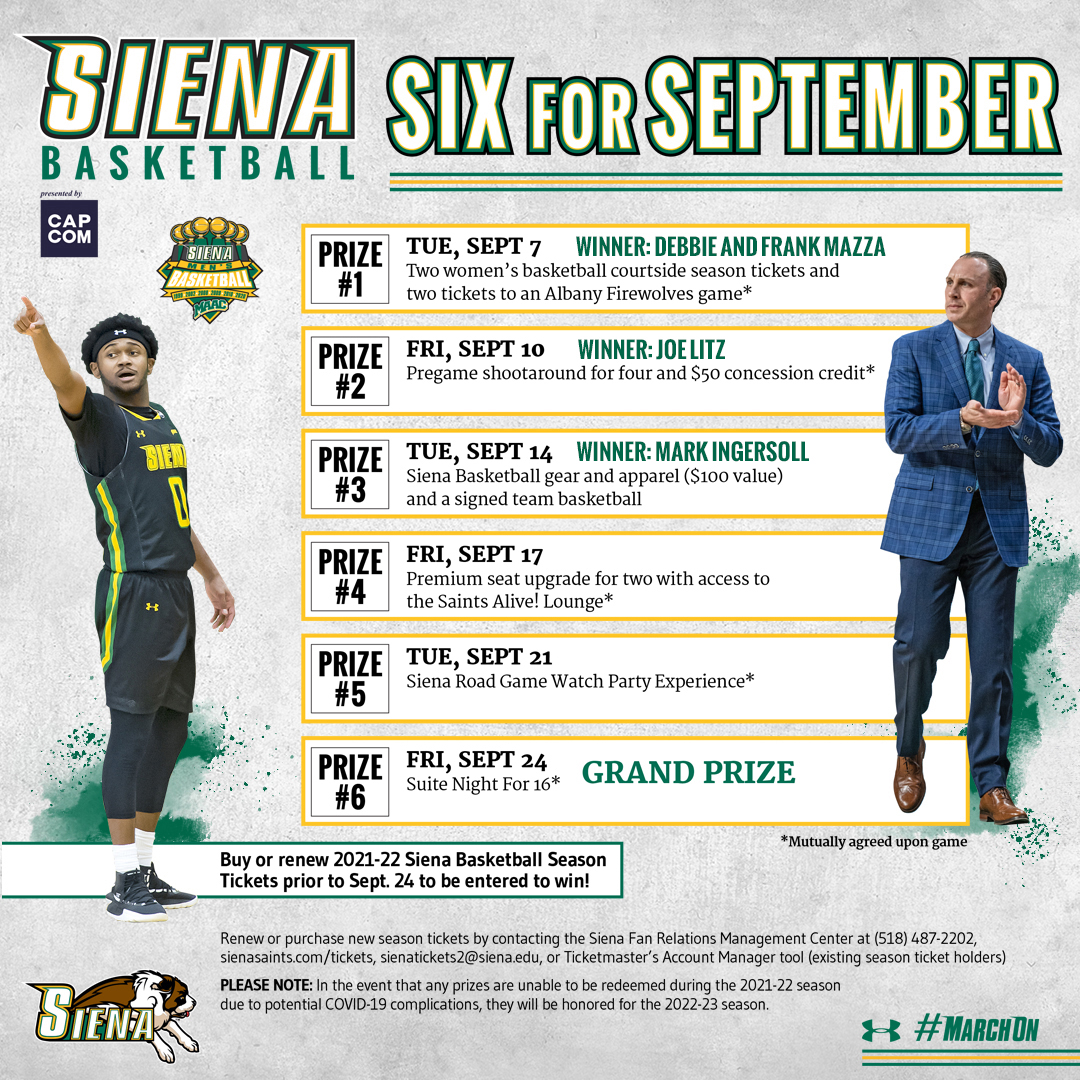 🎉 Congrats to today's #SaintsSixForSeptember winner 𝐌𝐚𝐫𝐤 𝐈𝐧𝐠𝐞𝐫𝐬𝐨𝐥𝐥 who has won @SienaMBB gear and apparel (valued at 💲1⃣0⃣0⃣) and a signed team 🏀❗️ Secure #SienaSaints season 🎟️ prior to Sept. 24 to be entered for your chance to win❗️ 📰 bit.ly/3h7vt1N