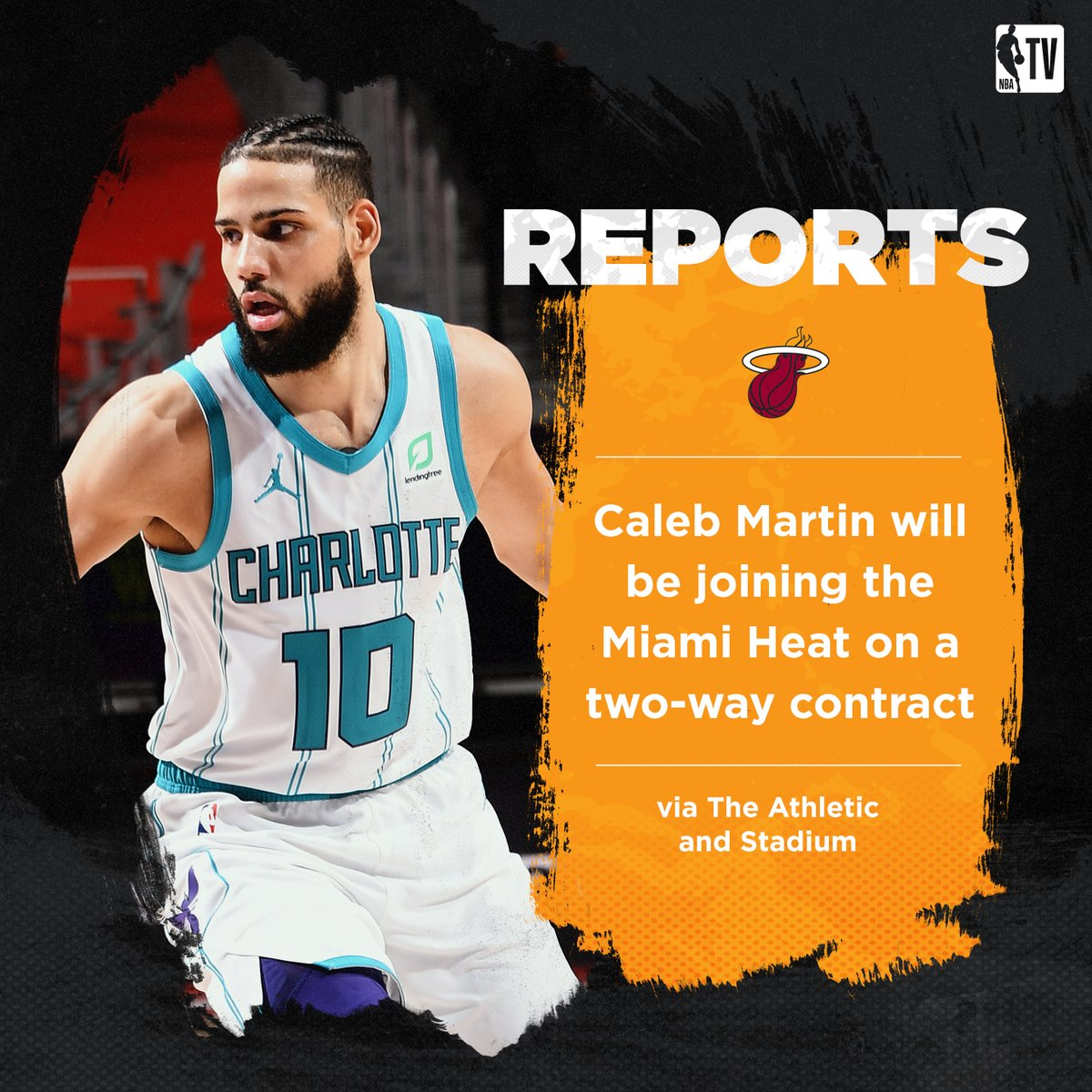 Caleb Martin is signing a two-way contract with the Miami Heat, per @ShamsCharania
