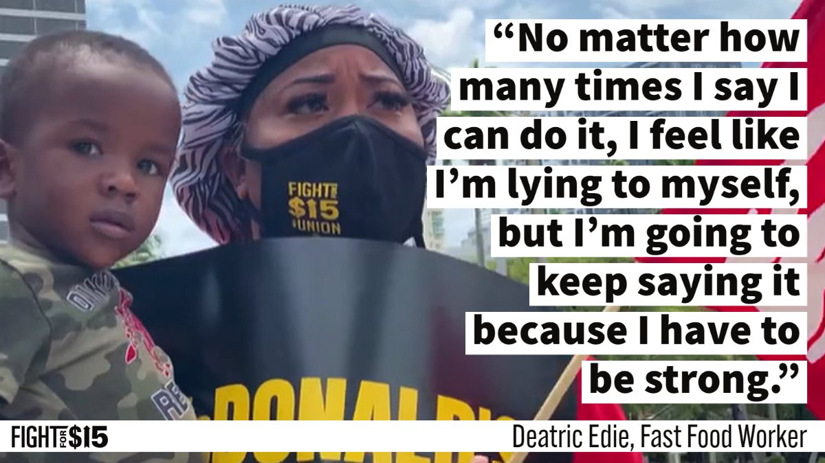We can't afford to give up when our families depend on us. Our fight for fair pay is a fight for them. #FightFor15 bit.ly/38NelKc