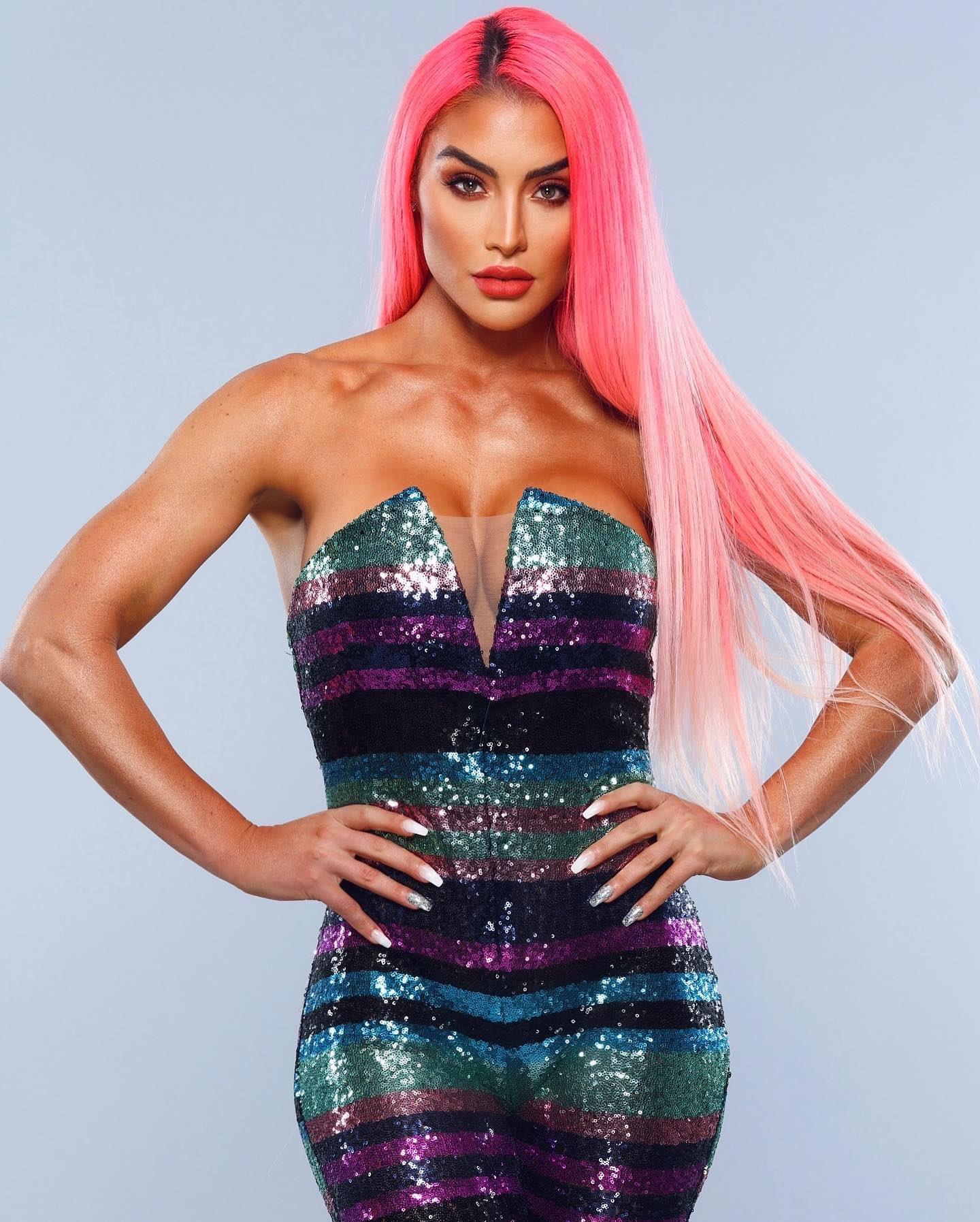 WWE Star Eva Marie Shares New Glittering Pink Power Photos 129