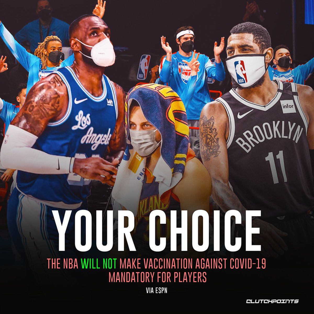 The NBA will mandate COVID-19 vaccinations for referees and most team staff members for the 2021-22 season, but they will not be requiring players to get the vaccine.  Thoughts?