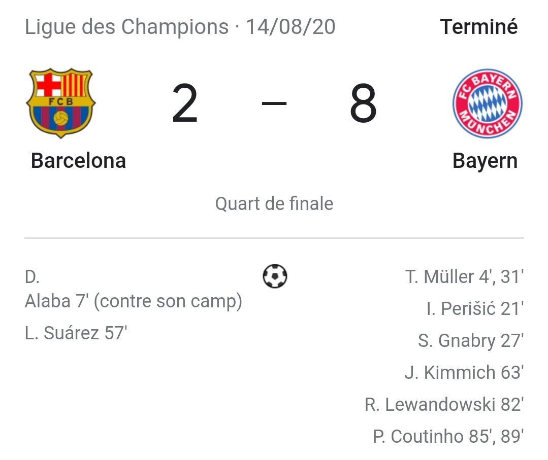 RT @4takuriV2: #FCBFCB Résumé des matchs Bayern Barca : https://t.co/E0EJ5yj9aH