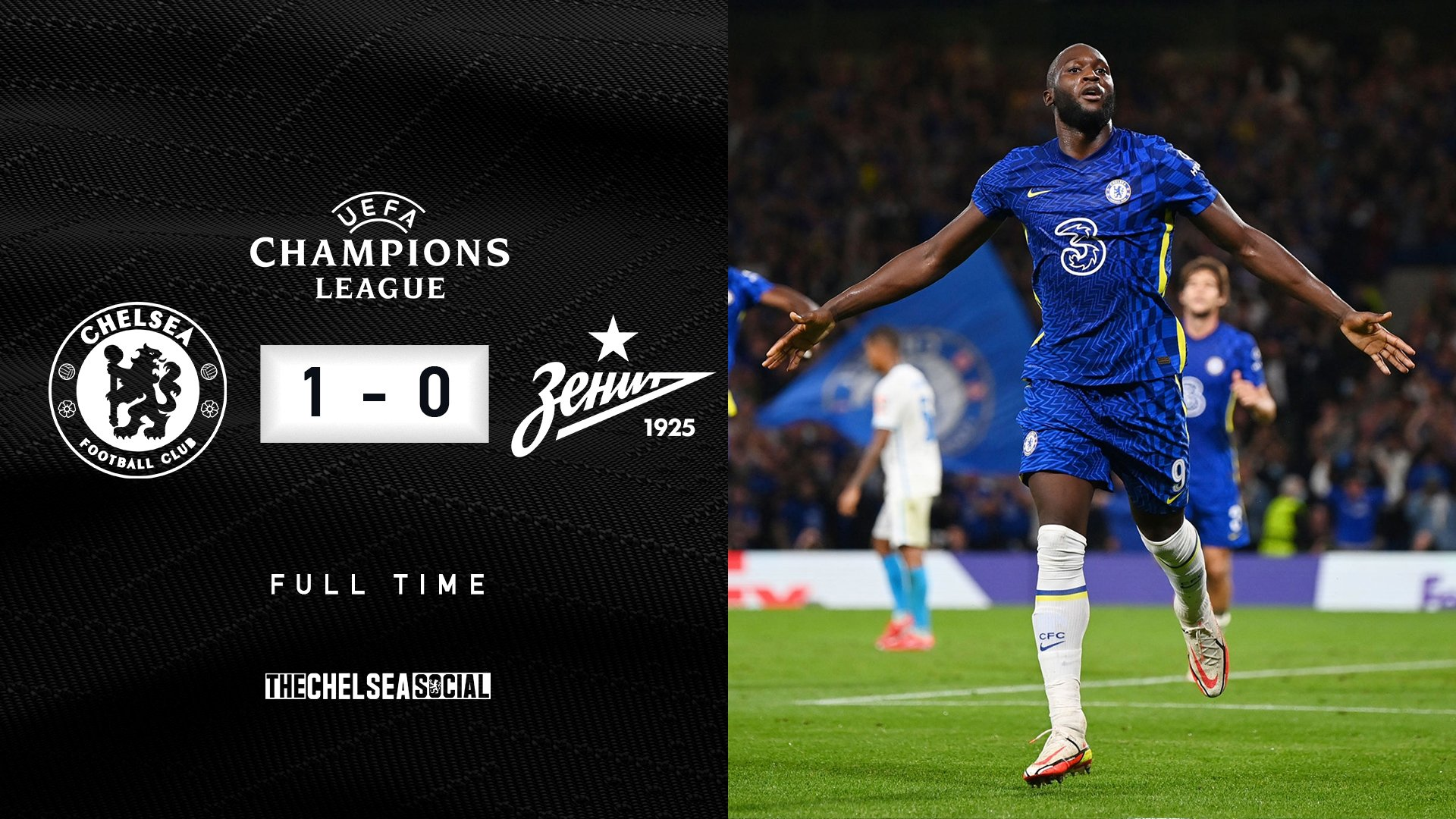 Romelu Lukaku (above) celebrates scoring the winning goal for Chelsea against Zenit. (Edit by @pabloedition)