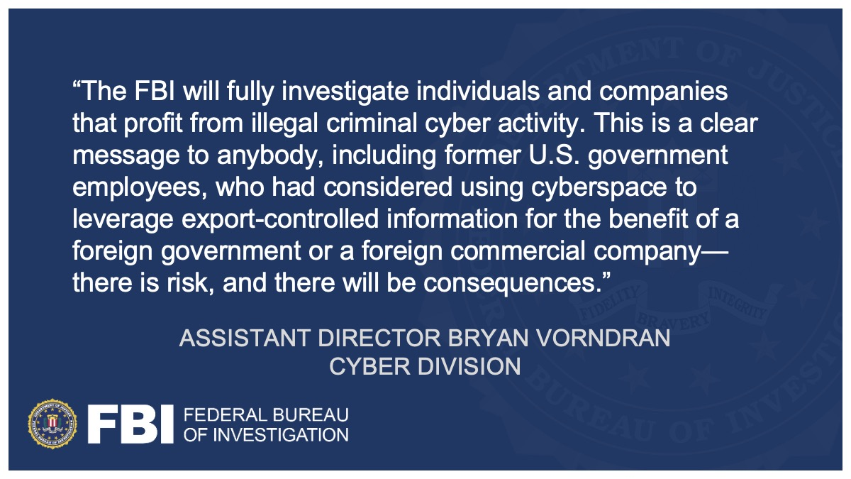 Following an investigation by @FBIWFO and our partners, three former U.S. government and military personnel must pay $1.68 million to resolve criminal charges related to violations of U.S. export control and computer fraud laws. go.usa.gov/xMWgA