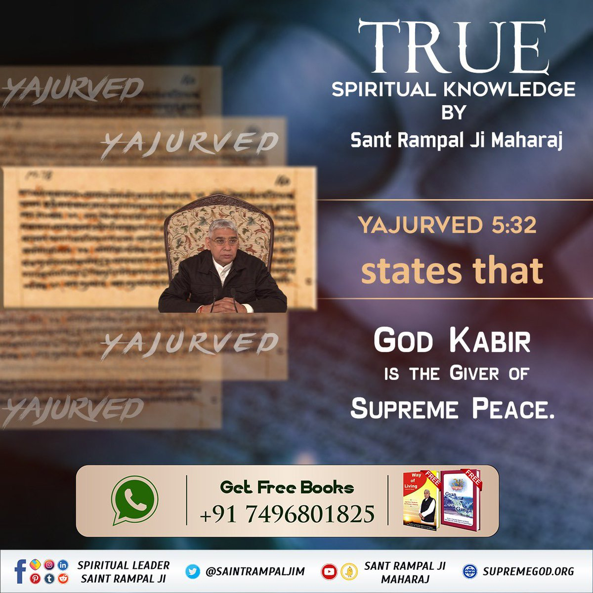 Yajurved 5:32 states that  God Kabir  is the Giver of Supreme Peace.  True spiritual knowledge by Sant Rampal Ji Maharaj  #Wednesdayvibe   #EngineersDay https://t.co/rVse9ds98c