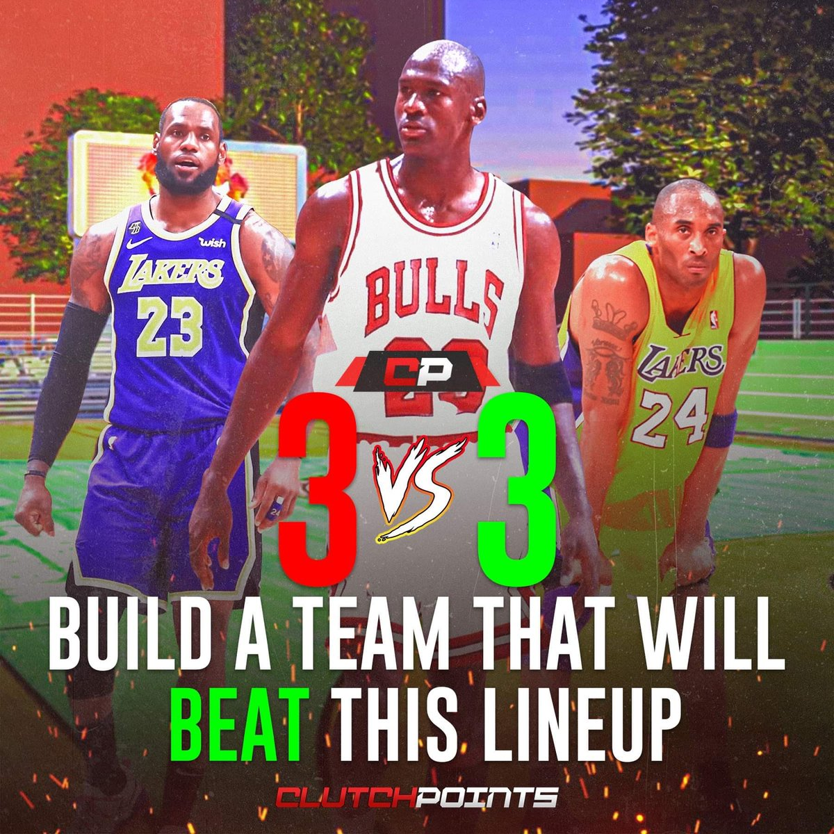 Build a squad that can beat LeBron James, Michael Jordan, and Kobe Bryant. 👀  🤝 All in their primes 🤝 Only NBA players (past and present) 🤝 First to 21 🤝 Make-it, take-it  Who you got? 👇